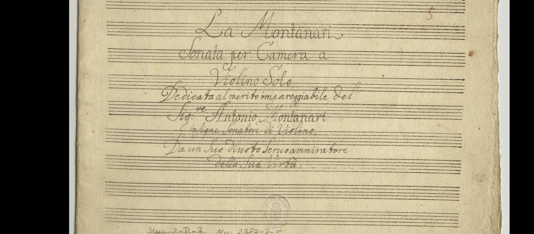Valentini. Sonata in A Major Mus.2387-R-5. Cover page.